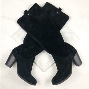 UGG Black Suede Heeled Knee High Boots